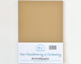 A4 Kraft Brown Handlettering cardboard, 5 sheet of 300 grams.