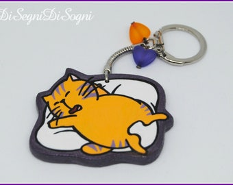 Key ring GIULIANO Kiss me Lycia-cut and painted by hand