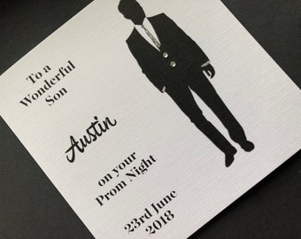 Prom Night Personalised Greeting Card for Son or Grandson, Nephew Friend Black Suit  School Prom Night Party