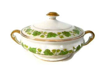 Vintage Pope Gosser China Serving Bowl with Lid American Ivy Pattern Discontinued Green Ivy 1920's Covered Vegetable Dish Serving Dish