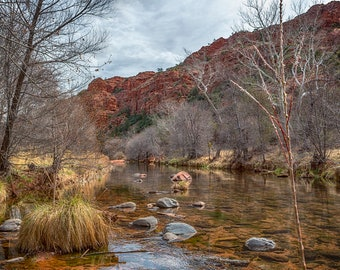 "Landscape Photography ""Oak Creek at the Base of Cathedral Rock""  Sedona, Arizona, nature, fine art photography, green, red, unframed print"