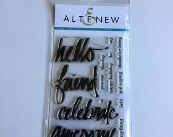 "Altenew ""Super Script"" Photopolymer Stamp Set, Brand New, Never Used, 14 Stamps, Perfect for Cards, Scrapbooking"