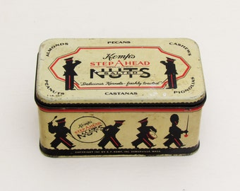 Vintage nut tin, lithographed tin, 1940's product tin, kitchen collectible, dated 1941 nut tin