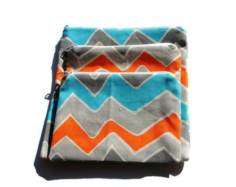 Reusable Zipper Snack Sandwich Bags set of 3 Gray Orange Blue Chevron Cotton Twill