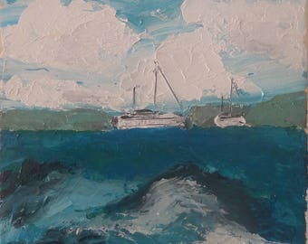 Koute - Original oil painting, contemporary seascape painting, canvas on frame by Sarah Abati