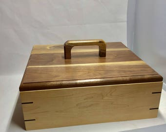 Handcrafted Maple/Walnut Keepsake Treasure Box |  wooden box | gift box | memory box | jewelry box |gift | maple|walnut