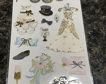 Just Married Scrapbooking Crafts Stickers / Wedding