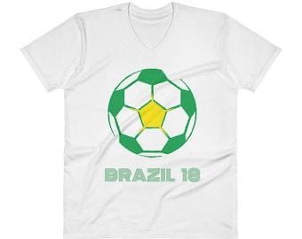 Brazil T-Shirt   Brazil Soccer Tee   V-Neck T-Shirt
