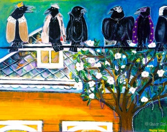 Mardi Gras Crows on a Wire Original Painting, by Gator Girl Art