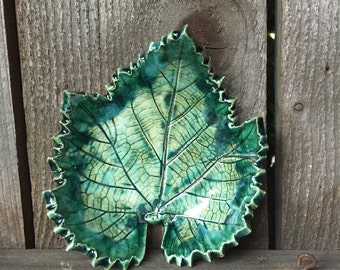 Leaf bowl, Grape leaf, Spoon rest, Ceramic spoon holder, Teabag holder, Ring dish, Jewelry dish, Soap dish, Candle holder, Cookies Ceramic