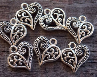 10 Antiqued Silver Heart Charms 14mm Silver Filigree Heart Charms