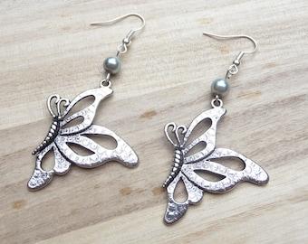 Butterfly earrings Kit DIY silver gray pearls