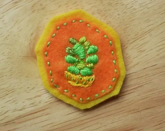 Houseplant Patch: Succulent on Orange (Patch, Pin, Brooch, or Magnet)