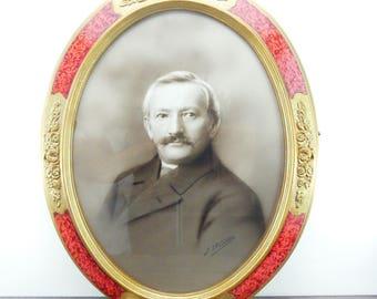 Art nouveau frame - Golden frame - Oval frame - Antique photo - Photographic art - Old frame - French frame - Portrait - Art nouveau -