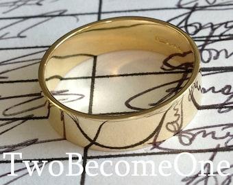 6mm Mens 9ct Yellow Gold Flat Shape Handmade Wedding Ring / Band / 5.4g