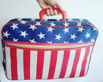 Vintage American Flag suitcase overnight bag groovey hippie carry bag