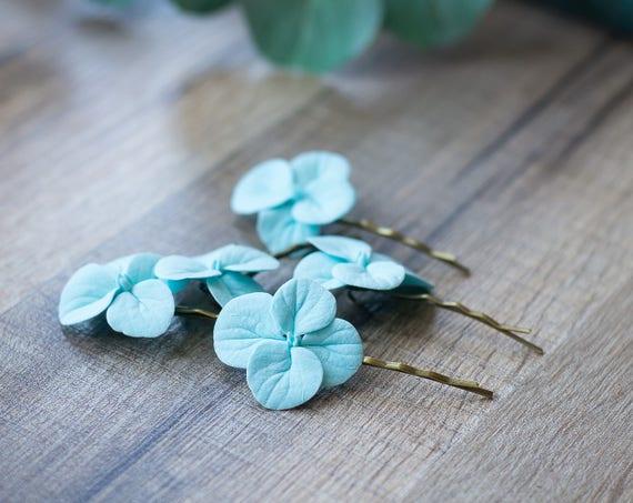 Haar-Clips Türkis Blume Haarspangen Hortensie-Haar-Clips