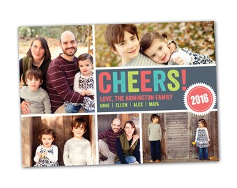 Cheers New Year's card, 2017 happy new year card, new year photo card, new year photo collage, cheers photo collage