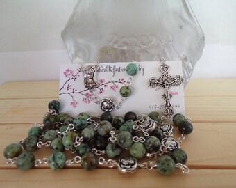 Turquoise Gemstone Rosary, Catholic Rosary,  Religious Meditation, Gift, Mother's Day
