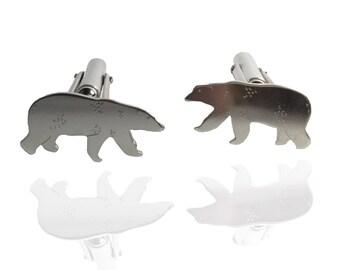 Polar Explorers                 - solid silver polar bear cufflinks