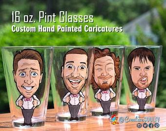 Groomsmen Pints, Beer Pints, Groomsman, Bestman Gift, Pint Glasses, Vintage Pints, Personalized Gifts, Custom Pints, Caricatures, Funny Pint