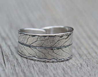 Leaf ring, silver willow leaf ring, sterling silver ring, made to order ring