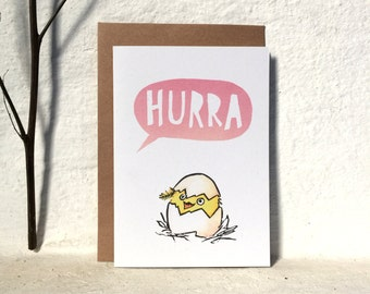 Hurra - greeting card - pink - A6 - 100% ECO recycled paper // Birthday Card, New Baby, Welcome, Hooray