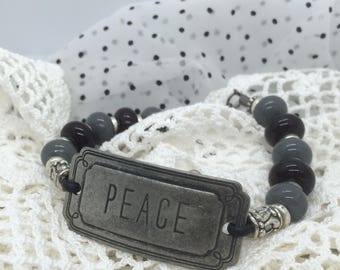 """8""""  Gunmetal Peace Gray & Black Lampwork Glass Bracelet on Leather with Silvertone Spacers"""