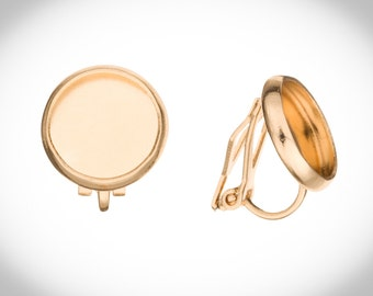 Clip On Earring Findings With 8mm Bezel Pad Gold Finished Sold Per 10pcs