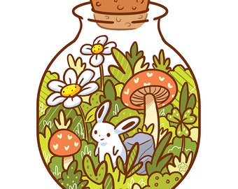 Cute Garden Bunny in a Bottle Print