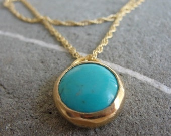 Turquoise Pendant , Turquoise Necklace , Turquoise Gold Necklace , Turquoise Jewelry , December Birthstone , Genuine Turquoise Jewelry