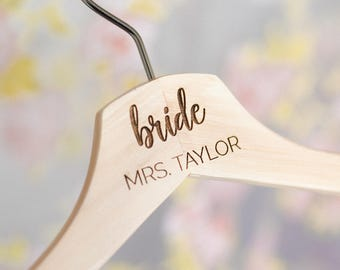 Personalized Bridesmaid Hangers - Mrs Hanger - Wedding Hanger - Wooden Engraved Hanger - Bridal Dress Hanger - Wedding Name Hangers HG104