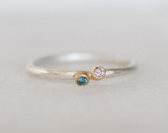 Diamond Twinkle Ring - Tiny Diamond Ring - Blue and Brown Diamonds Sterling and 18k Gold Stacking Ring