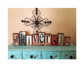 personalized made to match customizable family name wood block set / established sign