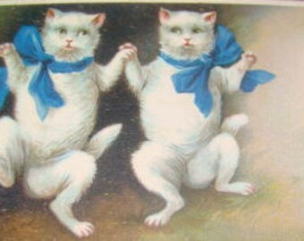 LAST CHANCE SALE Vintage Cats Dancing Embossed Postcard (Blue Ribbons)