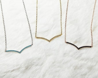 Elegant V Shaped Necklace, Chevron Necklace
