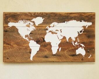 Wood world map (S)– Push pin travel map – Reclaimed wood wall décor – Rustic global art – World traveler – Barn wood artwork