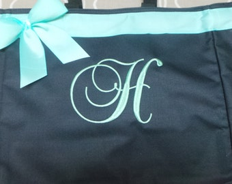 Bride, Bridesmaids bag, Personalized Bag, Monogram Bag Tote Great Size Teacher Bag, Gym, Beach, Dance, Nurse bag with ribbon and bow.