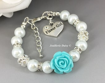 Blue Flower Bracelet Flower Girl Jewelry Flower Girl Bracelet Gift for Flower Girl Blue Turquoise Aqua Gift under 15 Pearl Bracelet