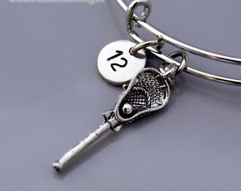 Lacrosse charm Bangle, Lacrosse stick bracelet, Lacrosse team number, Personalized bracelet, Charm bangle, Monogram, Initial bracelet