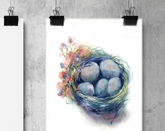 Bird's Nest with blue eggs ORIGINAL Watercolor Painting, spring Easter painting