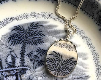 Beautiful antique Flow Blue English transferware - broken china jewelry pendant necklace early 1800s - recycled china - broken china jewelry