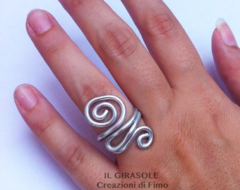 Wire Wrapped aluminium silver ring with swirls, silver spiral ring, Wire jewelry, aluminium silver swirl ring
