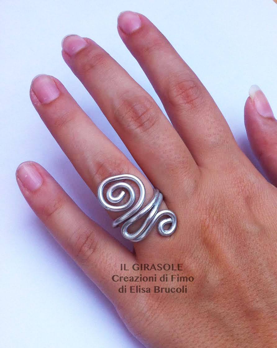 Wire Wrapped aluminium silver ring with swirls silver spiral