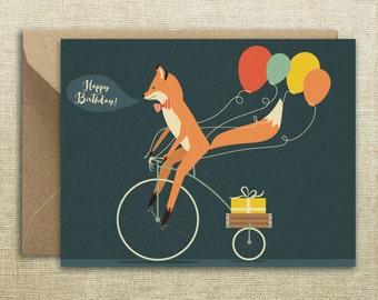 Happy Birthday Fox Bike  Card