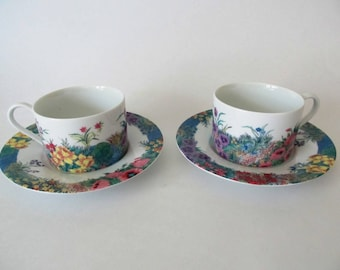 Two Nikko Secret Garden, Cups and Saucers, More Available