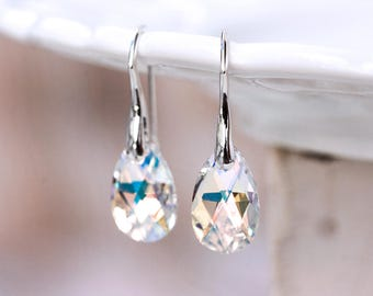 Bridesmaid gift earrings SWAROVSKI earrings Crystal earrings Gift for her White earrings Gift silver earrings Teardrop earrings gift 769