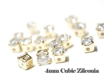 4mm Cubic Zirconia / Crystal Color / Gold Plated / 4pcs / cz06001