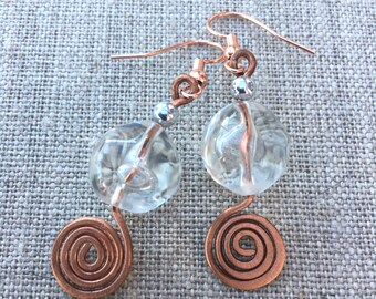 Earrings, Round glass Bead With Copper Wire