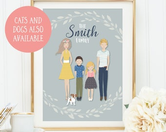 Custom Family Portrait, Family Portrait Illustration, Family Portrait Personalised, Family Portrait Printable, Anniversary Gift Personalised